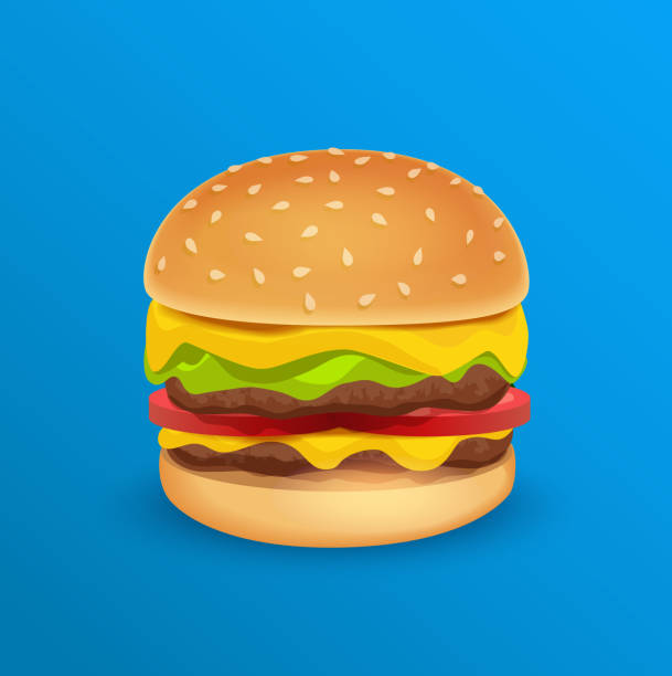 Tasty Classic Burger Vector Illustration of Tasty Classic Burger isolated on Blue neutral Background. bread clipart stock illustrations