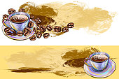 Tasty Coffee and beans banners, all elements are in separate layers and grouped.created as very artistic painterly style. Please visit my portfolio for more options.