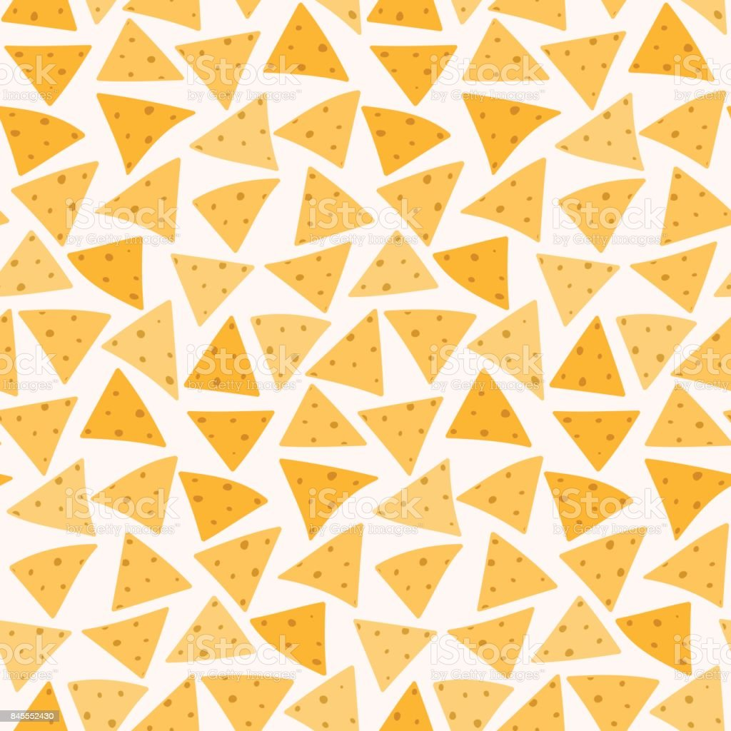 Tasty colorful mexican nachos seamless pattern vector art illustration