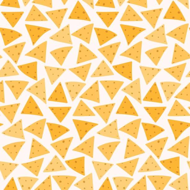 bildbanksillustrationer, clip art samt tecknat material och ikoner med läckra färgglada mexican nachos sömlösa mönster - cheese sandwich
