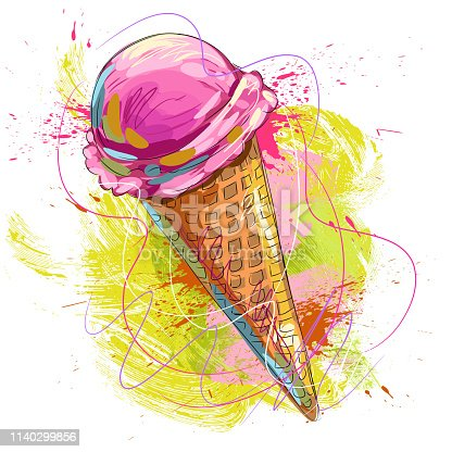 Drawing of Tasty Cone ice cream. Elements are grouped.contains eps10 and high resolution jpeg.