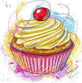 Drawing of Tasty Cup cake. Elements are grouped.contains eps10 and high resolution jpeg.