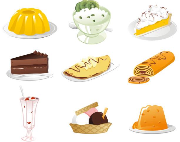 leckeren desserts icon-set - wackelpuddingkekse stock-grafiken, -clipart, -cartoons und -symbole