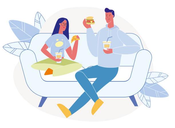 illustrazioni stock, clip art, cartoni animati e icone di tendenza di tasty dinner at home flat vector illustration - couple portrait caucasian