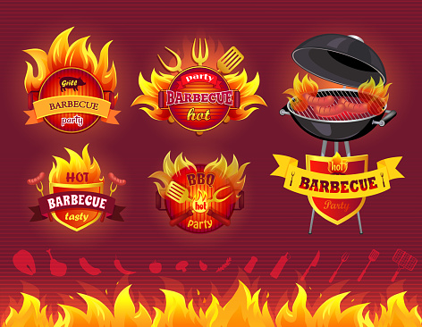 Tasty Hot Barbecue, Grill Party, Set of Icons