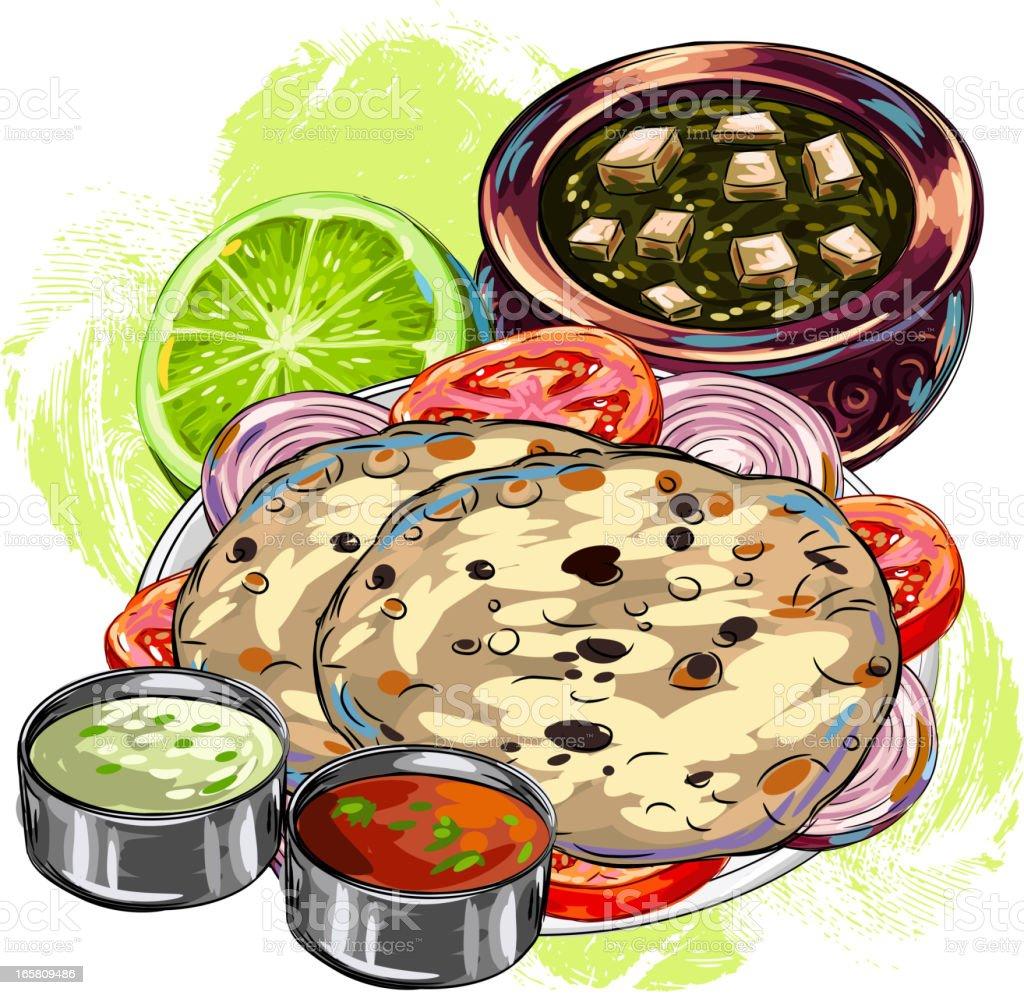 Délicieuse Cuisine indienne/Braed - Illustration vectorielle