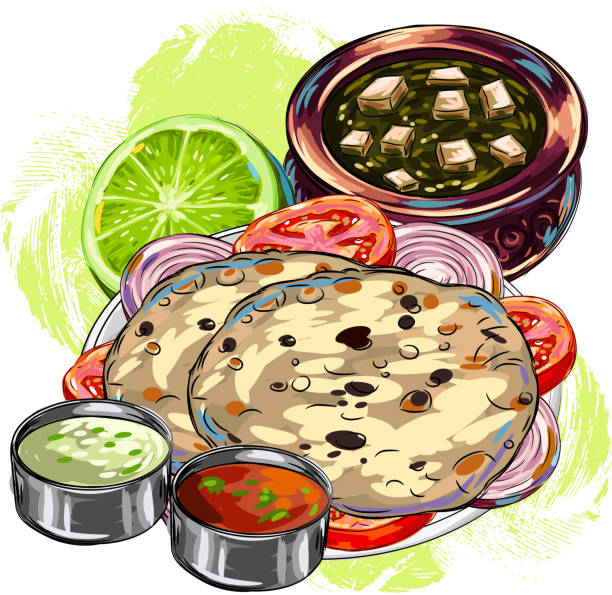 tasty indian cuisine/braed - indian food stock illustrations, clip art, cartoons, & icons