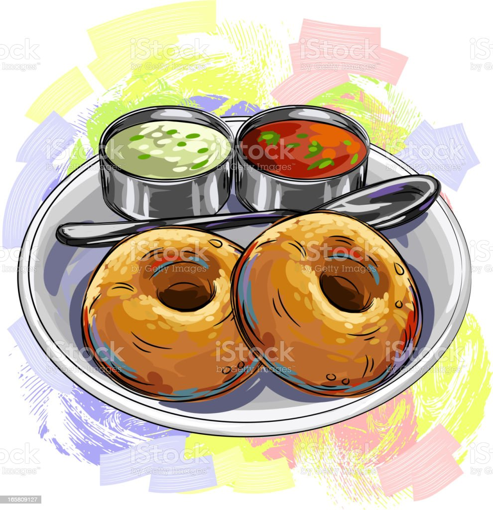 Savoureuse Cuisine indienne et du Vada - Illustration vectorielle