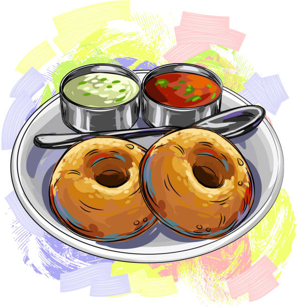 tasty indian cuisine/vada - indian food stock illustrations, clip art, cartoons, & icons