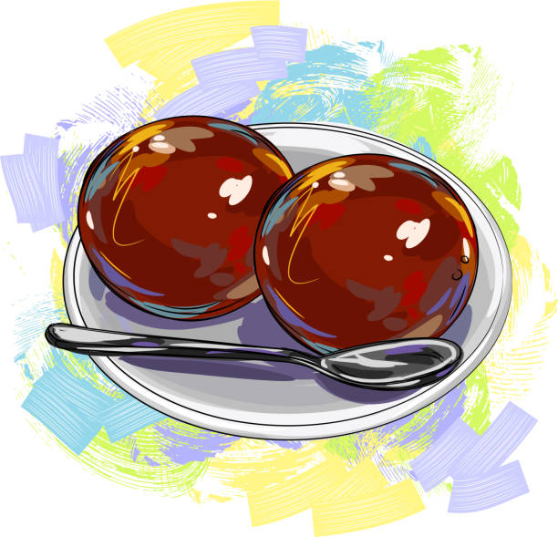 tasty indian sweet/gulab jamoon - indian food stock illustrations, clip art, cartoons, & icons