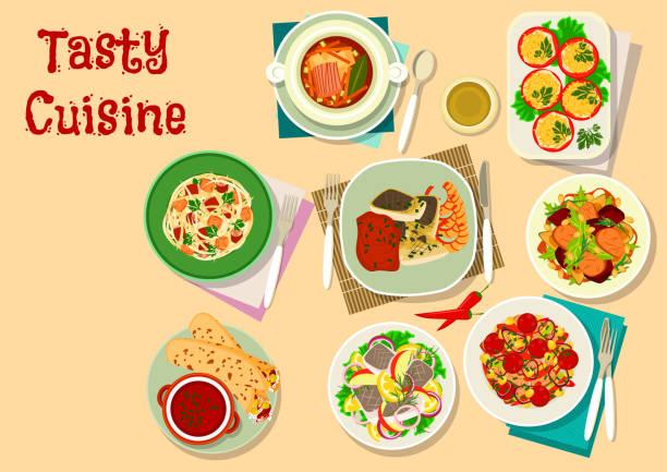 leckeres mittagessen-menü-symbol für restaurantdesign - feigensalat stock-grafiken, -clipart, -cartoons und -symbole