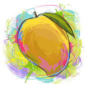 Tasty Mango, all elements are in separate layers and grouped.created as very artistic painterly style. Please visit my portfolio for more options.