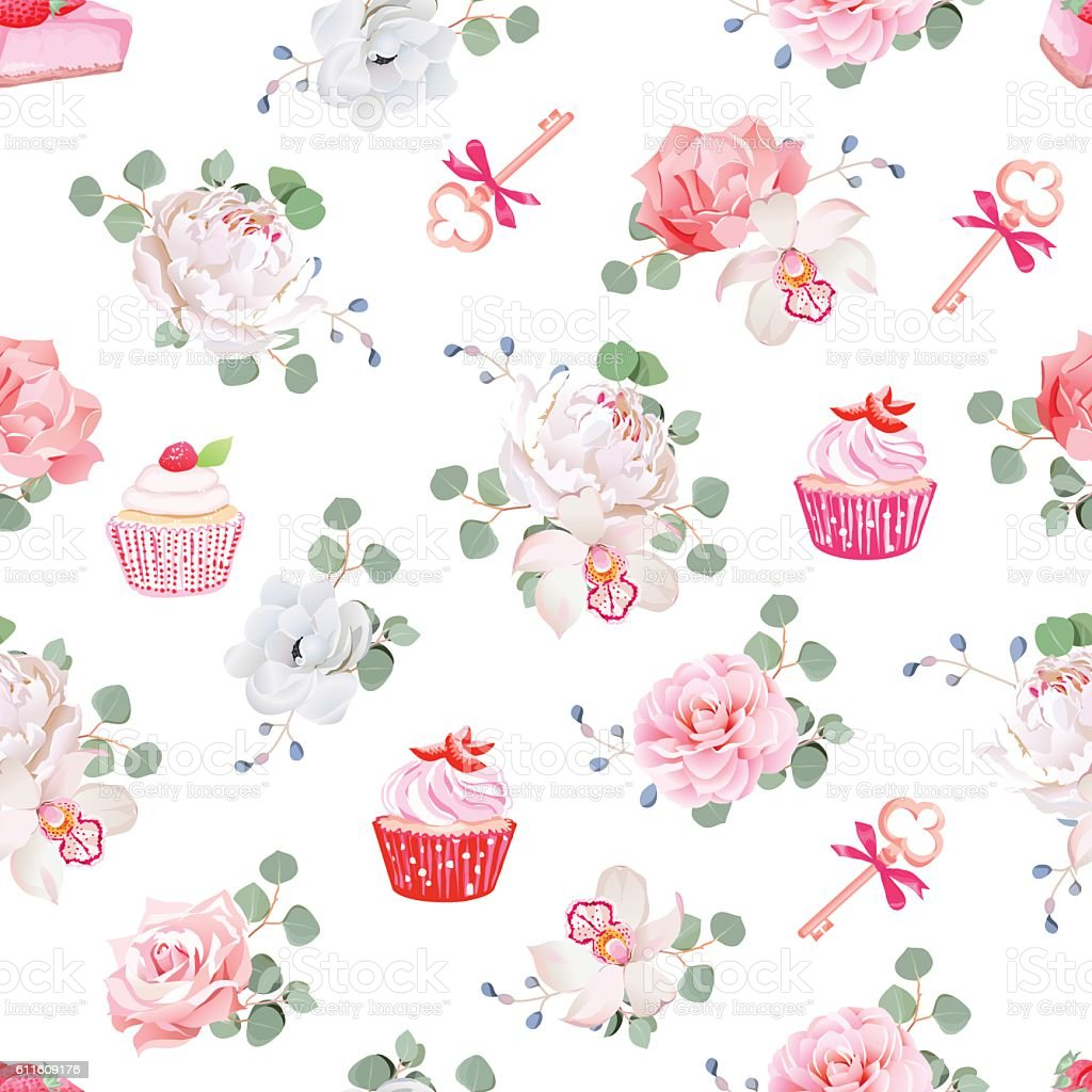 Tasty pastries, bouquets of flowers, red bows seamless vector print vector art illustration