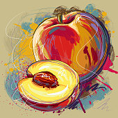 Self illustrated Tasty Peach, all elements are in separate layers and grouped, very easy to edit. Please visit my portfolio for more options.
