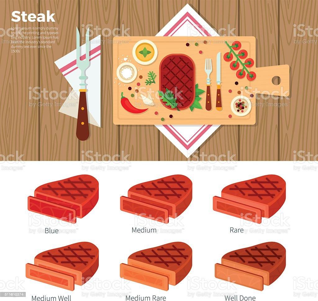 Tasty steak served on the table vector art illustration
