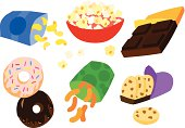 Tasty Indulgent Sweet and Savory Snack Set with Donuts, Potato Chips, Pop Corn, Cheese Puffs and Chocolate Chip Cookies