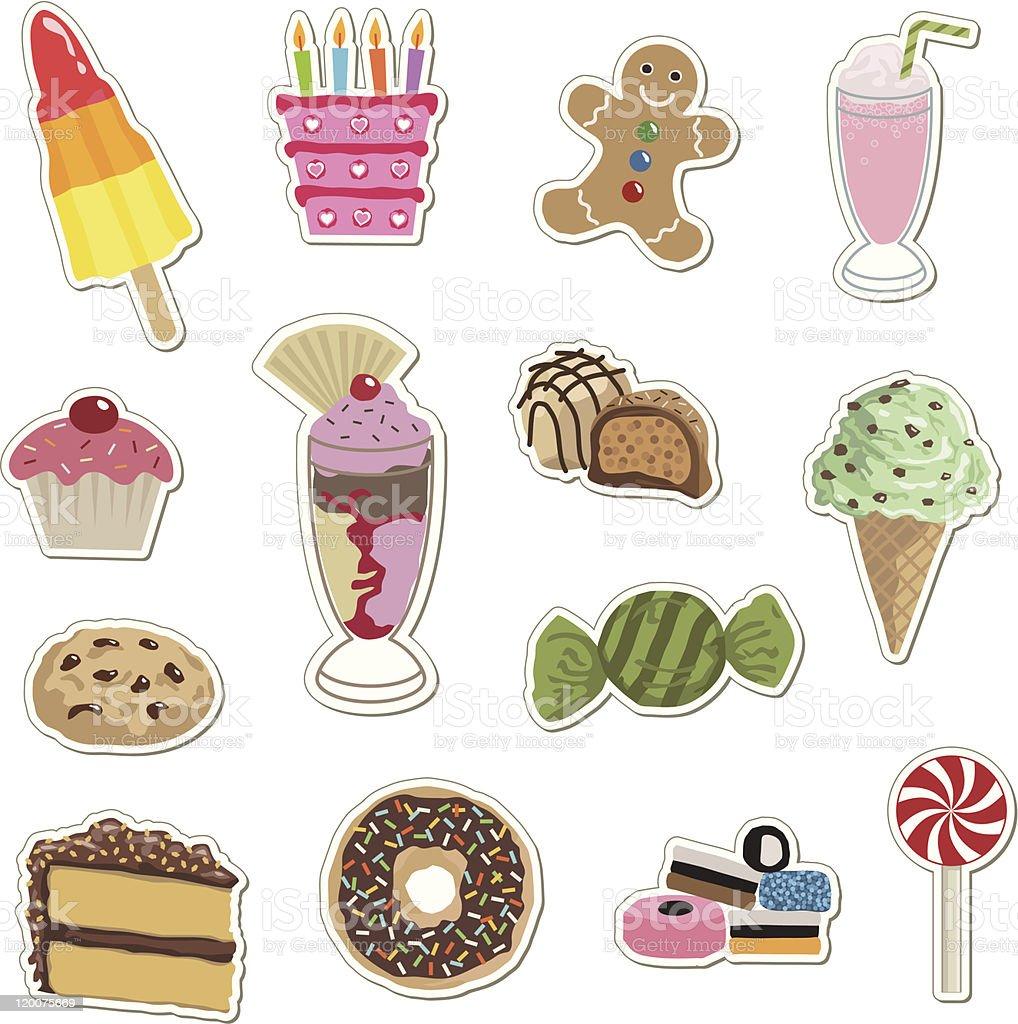 tasty treat stickers vector art illustration