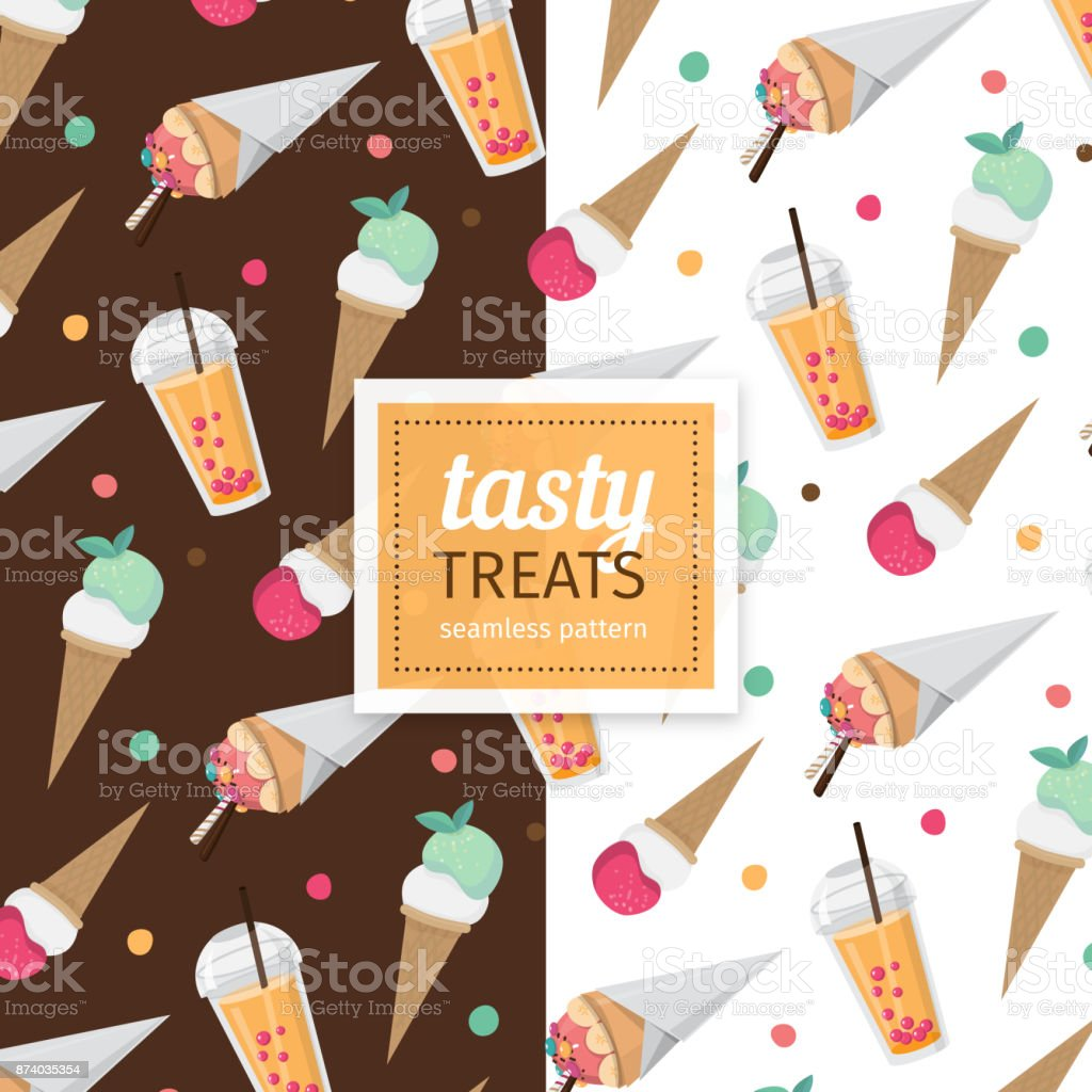 Tasty treats seamless pattern vector art illustration