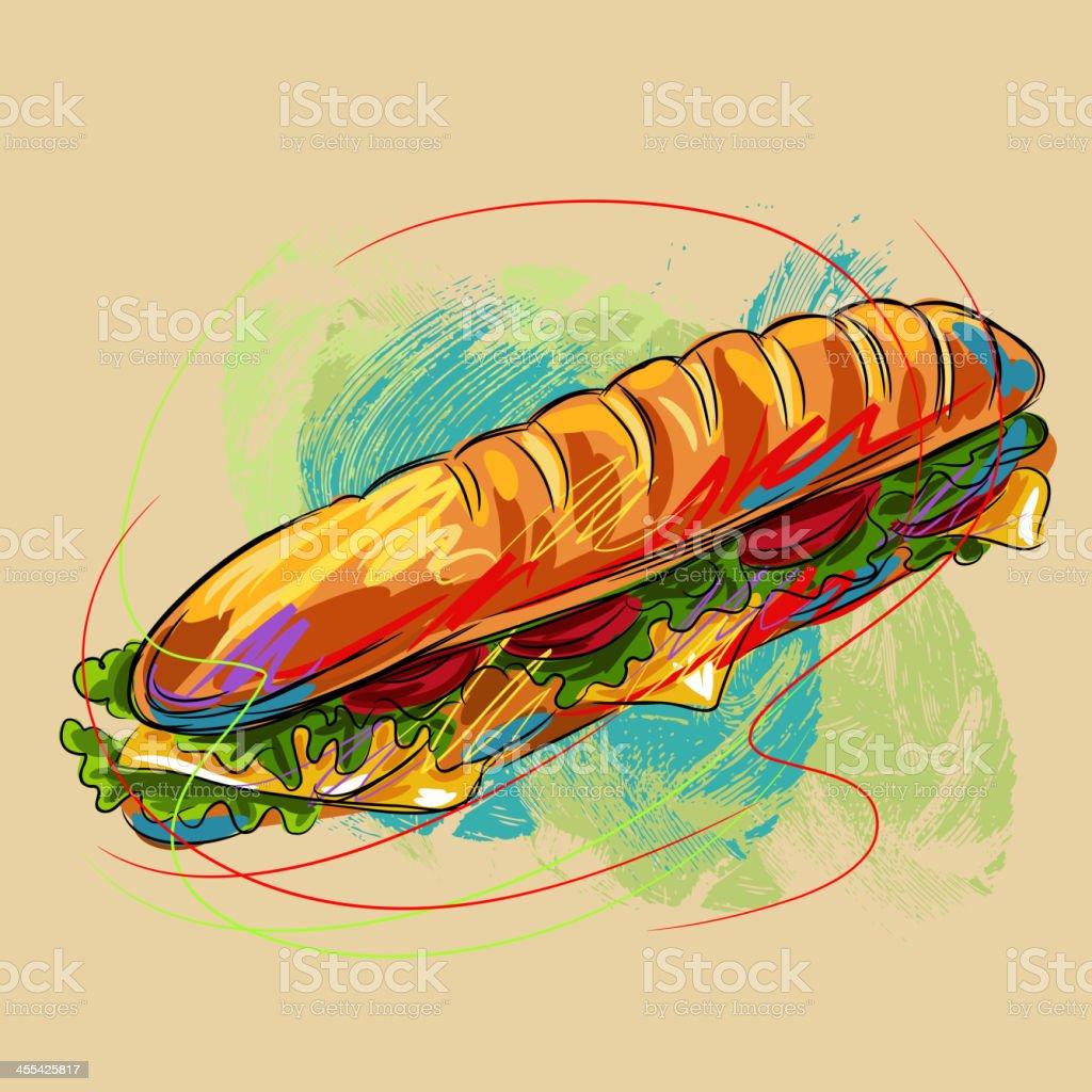 Tasty Vegetable Sandwich royalty-free stock vector art