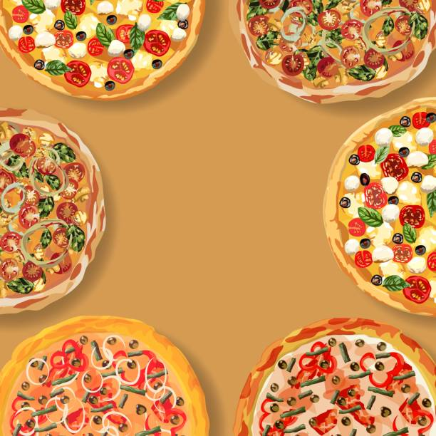 leckeres gesundes essen. echte heiße pizza. pizza mit gebratenem speck, leckerem paprika und grünen bohnen. schönes und schnelles mittagessen. rezepte des klassischen italien. seamnless vektor-illustration. - zwiebelringteig stock-grafiken, -clipart, -cartoons und -symbole