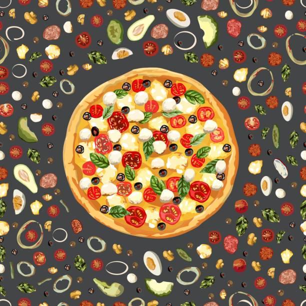 leckeres gesundes essen. echte heiße pizza. nahtlos - zwiebelringteig stock-grafiken, -clipart, -cartoons und -symbole