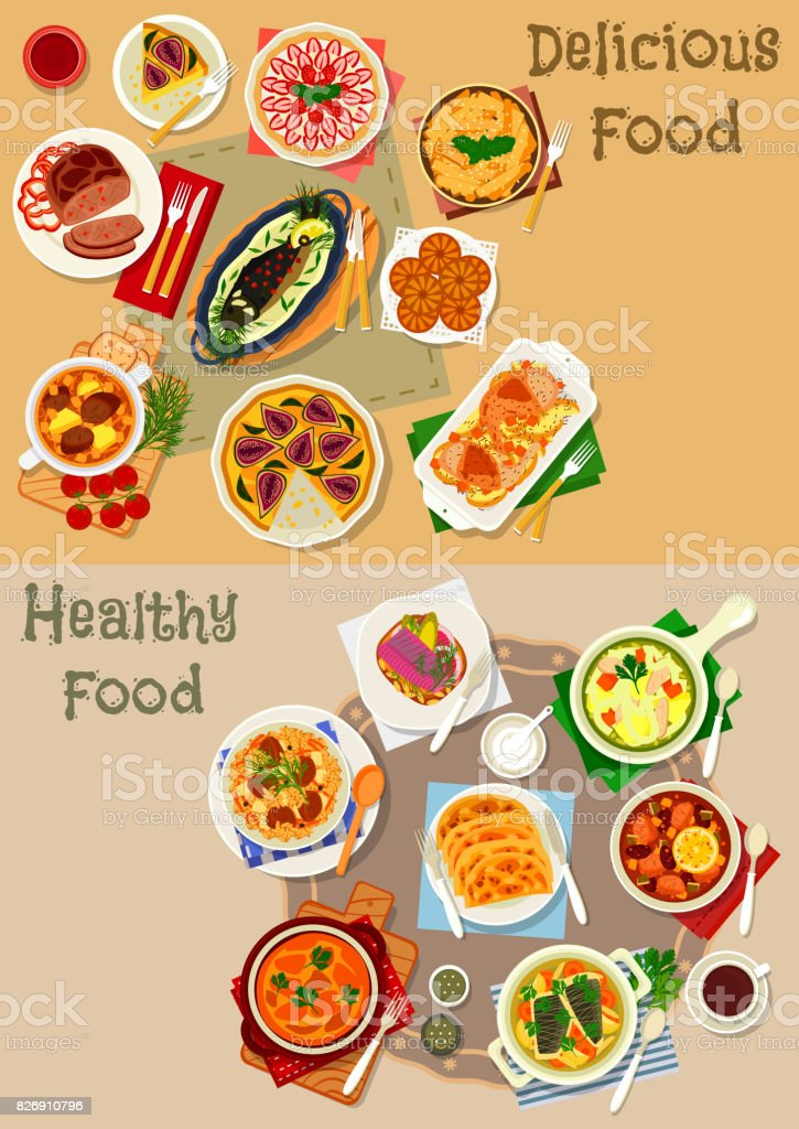 Tatar national cuisine icon set for food design vector art illustration