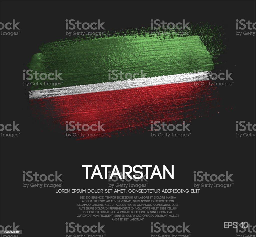 tatarstan flag made of glitter sparkle brush paint vector stock