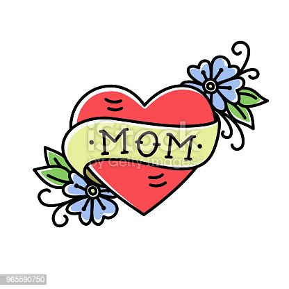 Tatoo with Mom inscription in heart shape, flowers and ribbon, isolated on a white background. Retro american old school style. Vector illustration. T-shirt print