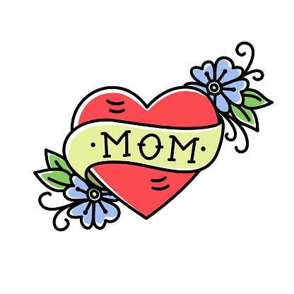 Tatoo with Mom inscription in heart shape