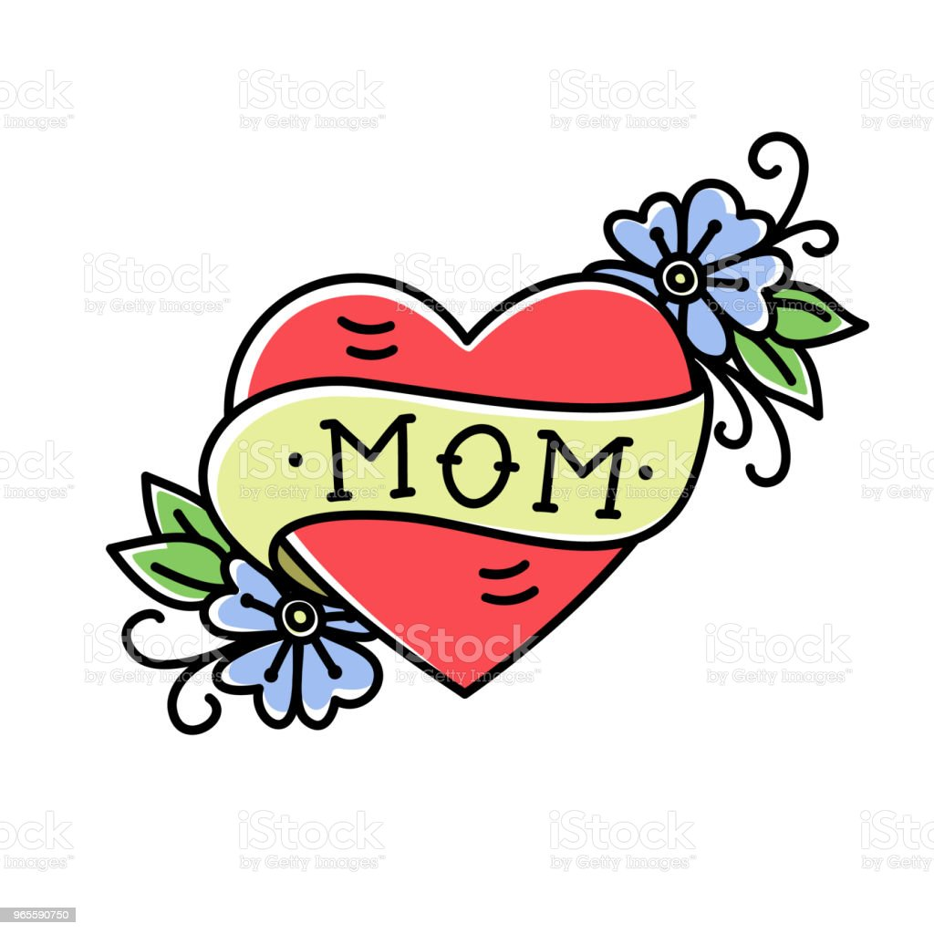 Tatoo with Mom inscription in heart shape vector art illustration