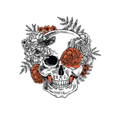 Tattoo anatomy vintage floral skull illustration. Floral skeleton. Vector illustration