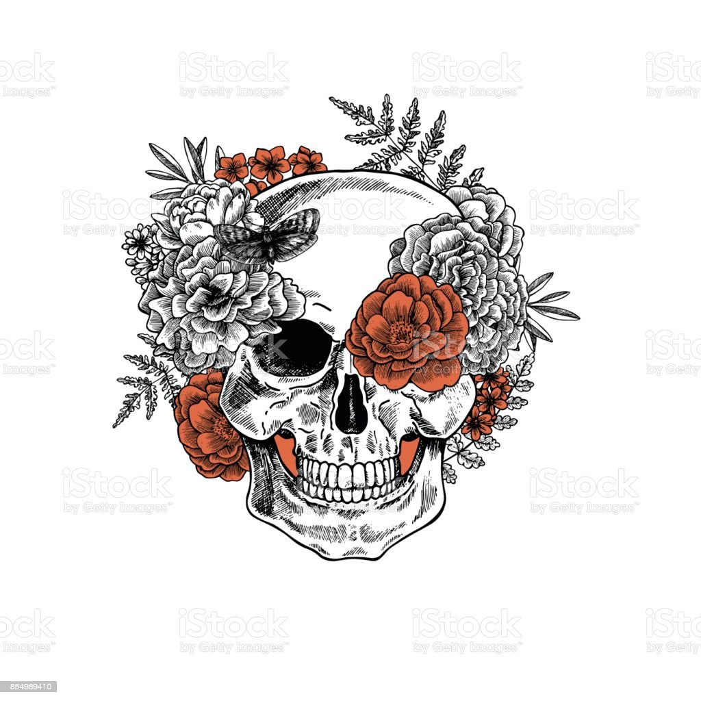 Tattoo anatomy vintage floral skull illustration. Floral skeleton. Vector illustration vector art illustration