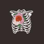 Tattoo anatomy vintage illustration. Floral chest skeleton. Vector illustration