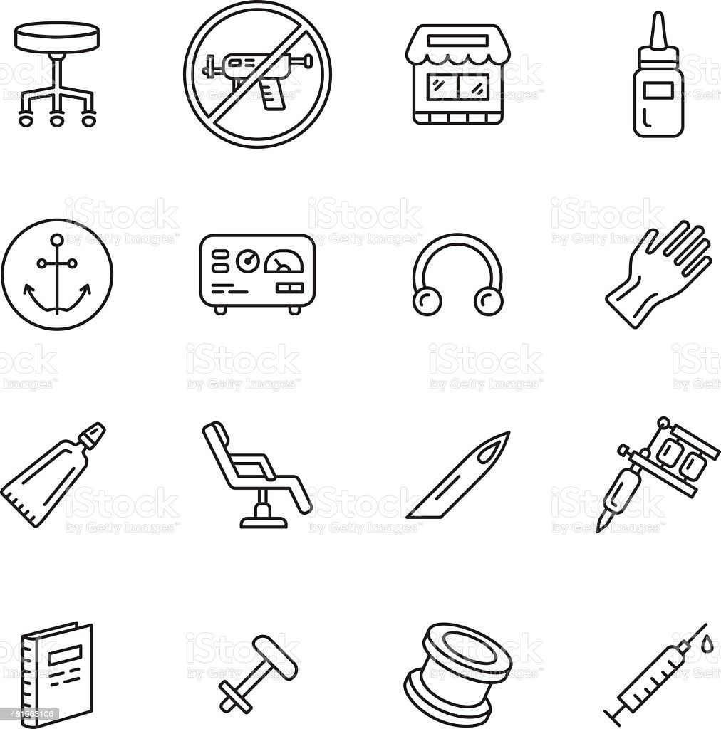 Tattoo and Piercing Icons vector art illustration