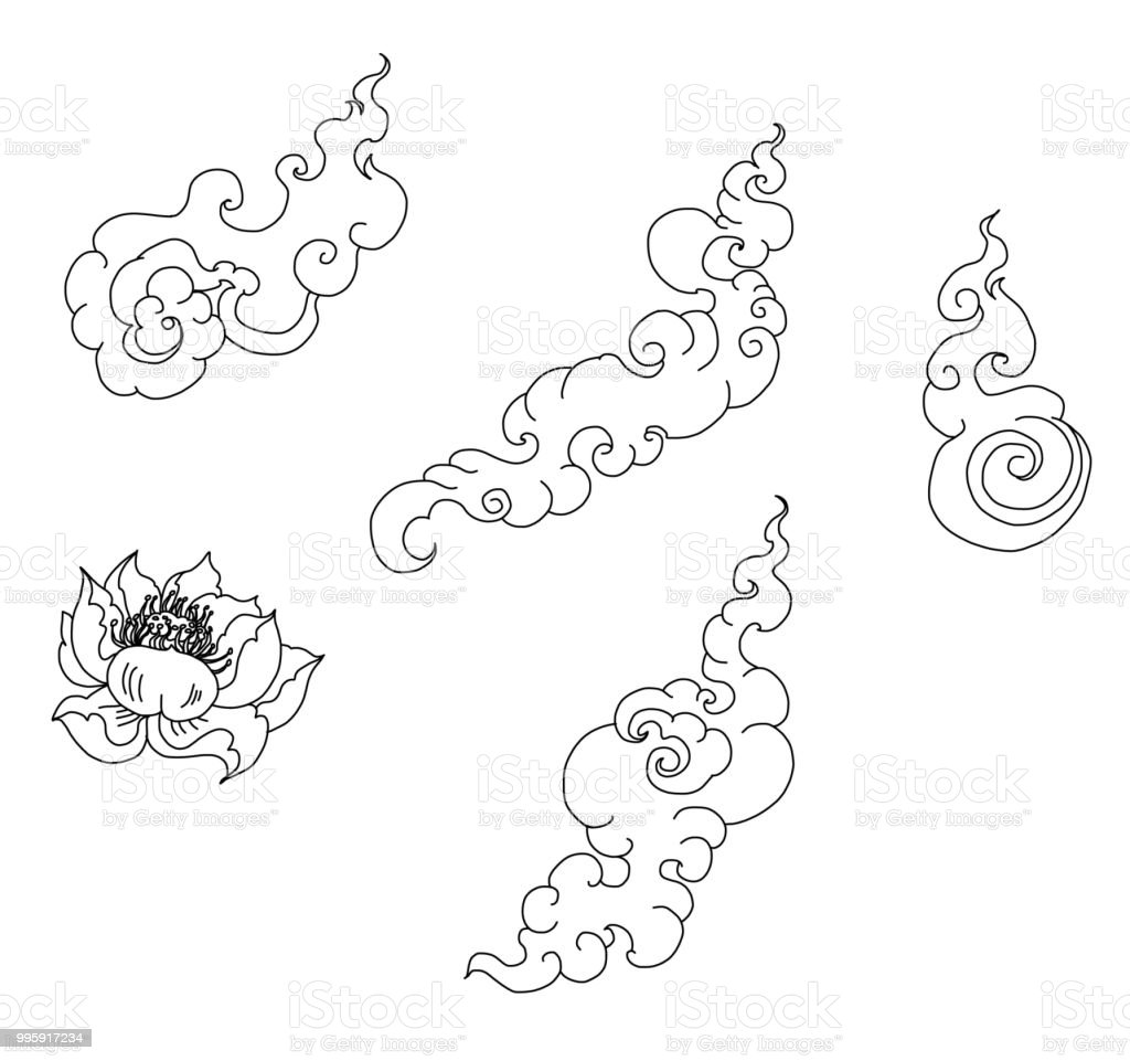 f204b023e70d3 Tattoo and sticker for printing.Gold Line Thai fire and cloud tattoo.Hand  drawn red fire vector set.Chinese cloud isolate vector. - Illustration .