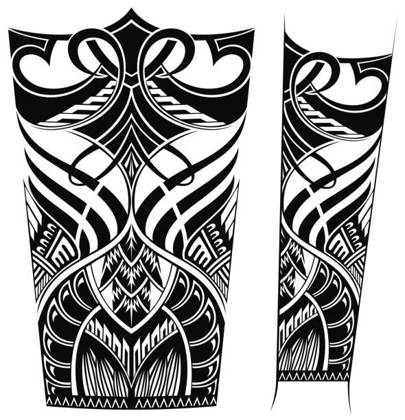 tattoo arm - maori tattoos stock-grafiken, -clipart, -cartoons und -symbole