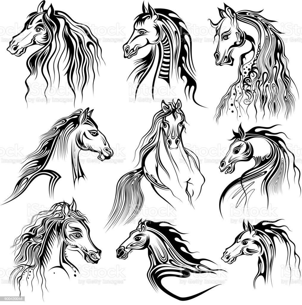 Vetores De Tatuagem De Desenho De Arte Da Colecao Do Cavalo E Mais