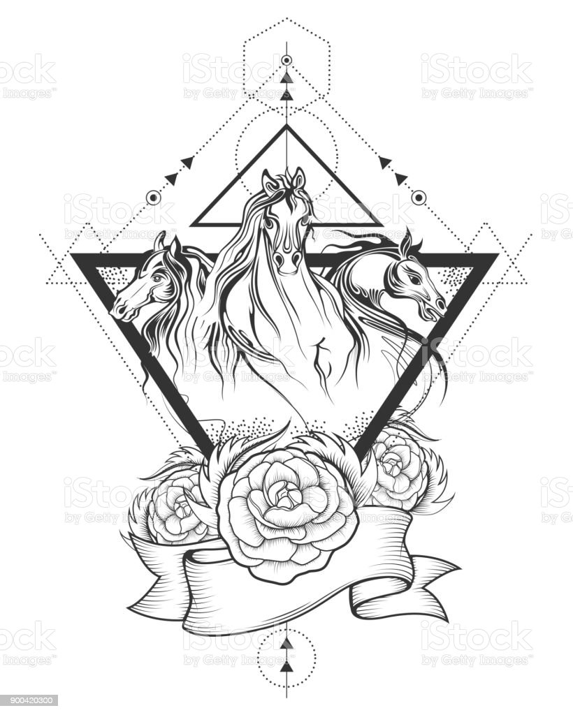 Tattoo Art Design Of Horse Racing In Line Art Stock Illustration Download Image Now Istock