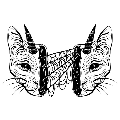 Tattoo art style illustration of open skull with spiderweb inside. Occult, gothic, witchy vibes.
