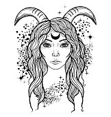 Tattoo art style illustration with girl with horns. Mystical creature faun.