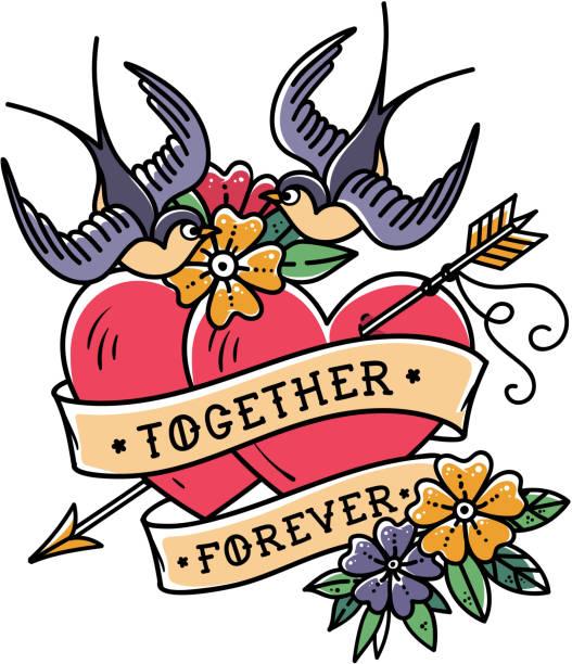 illustrations, cliparts, dessins animés et icônes de art de tatouage. deux cœurs percés d'une flèche. tatouage coeur avec fleurs et hirondelles. ensemble pour toujours - tatouages cœurs
