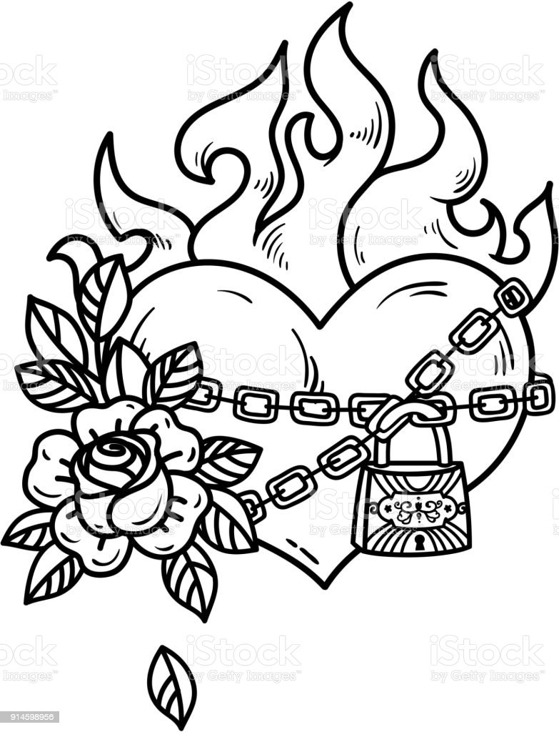 Tattoo Burning Heart With Roses Tattoo Heart In Fetters Of Love On