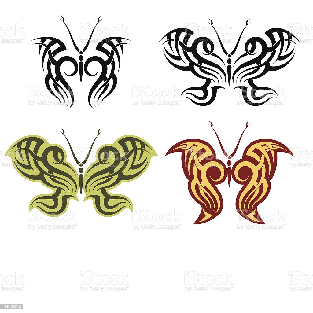 Tattoo butterfly royalty-free tattoo butterfly stock vector art & more images of black color