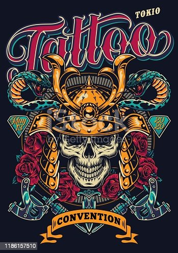 istock Tattoo convention in Tokio colorful poster 1186157510