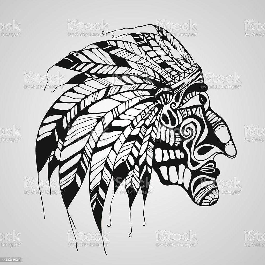 Tatuagem Desenho De Indio Americano Nativo Chefe Arte Vetorial