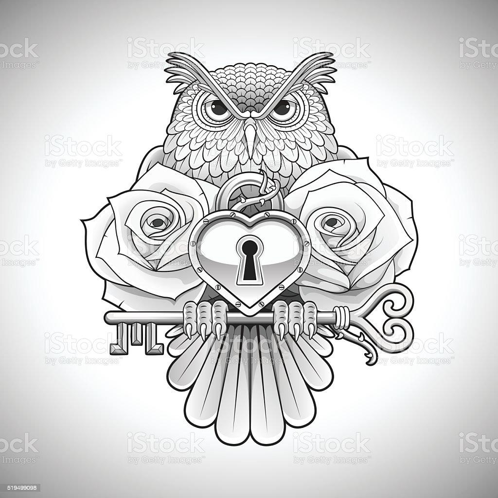 Tatuaż Wzór Z Sowa Trzyma Klucz Z Serce Medalion I Róż