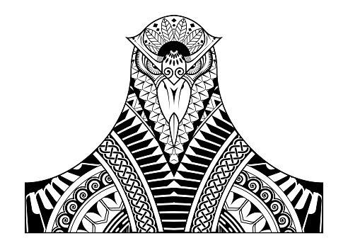 Tattoo design of the decorative head bird
