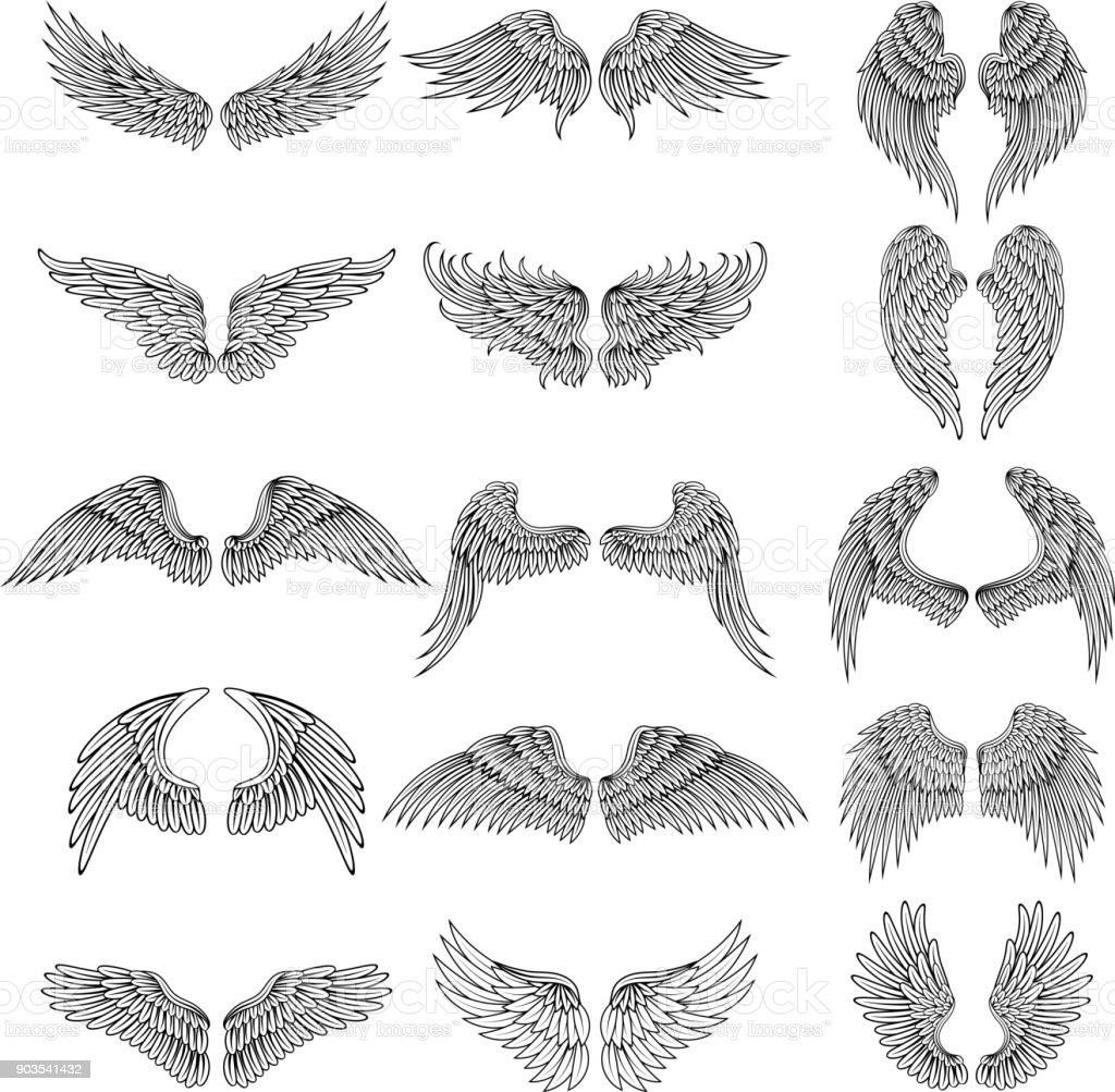 Tatuaje de fotos de diseño de diferentes alas estilizadas. Ilustraciones vectoriales para el diseño de s - ilustración de arte vectorial
