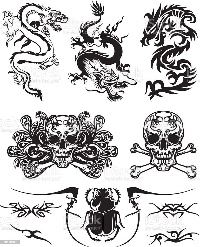 Tattoo design set vector art illustration