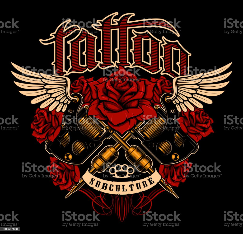 Tattoo Design Shirt Graphic With Old School Tattoo Machines And ...